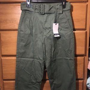 NWT Zara green high waisted trouser pants